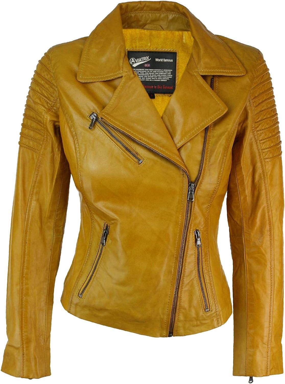 Aviatrix Ayesha Chaqueta Ajustada para Mujer de Cuero autentico Amarillo, Estilo Biker Amarillo