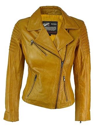 aafe881150ec Veste Perfecto Femme Cuir véritable Jaune Style Biker Coupe cintrée  Amazon. fr  Vêtements et accessoires