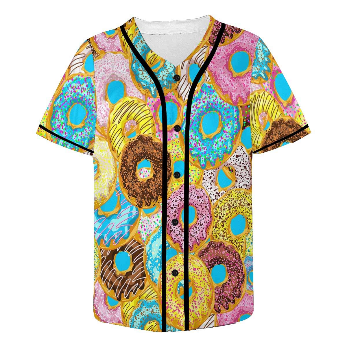INTERESTPRINT Mens Hipster Short Sleeve Full Button Baseball Jersey Shirts Funny Colorful Donuts Cute Dessert