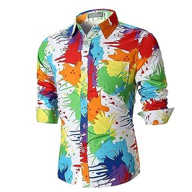 Yvelands Camisa de Manga Larga Estampada 3D Slim Camisa de Hombre Formal -  Básica - con Botones - Manga Larga - para Hombres Top Party Vacation Otoño  ... bf4859c8cae