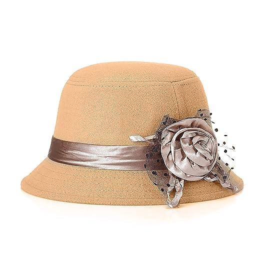 Glamorstar Vintage Felt Cloche Hat Winter Floral Fedora Bucket Hat Bowler  Hats Beige 152c89ad414