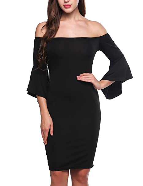 9555d19c Meaneor Women Sexy Trumpet Sleeve Off Shoulder Bodycon Party Club Midi Dress  Black S