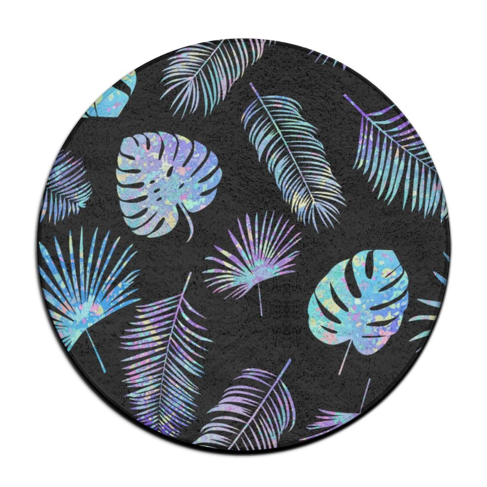 XTingIy Palm Leaves Home Life Flannel Non-Slip Living RoomRound Rug Mats Good Water Absorption