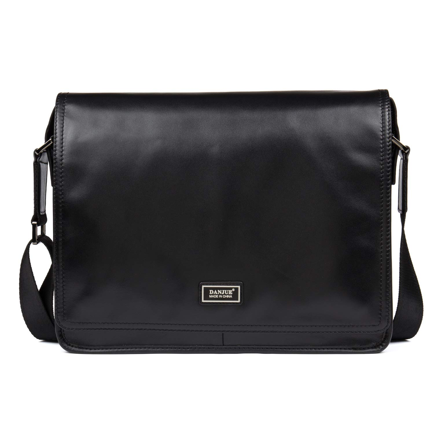 DANJUE Full Grain Leather Messenger Bag for Men with Card Slots Flap-over Casual//Business Crossbody Bag for 9.7 inch Ipad D8287 Black