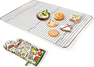 Secura Cooling Rack 100% 304 Stainless Steel Baking Rack, Wire Rack with Anti-scald Gloves for Baking, Cooking, Drying, Grilling, 10 x 15 Inches (Oven Safe & Dishwasher Safe)
