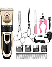 Dog Clippers, Professional Electric Cat Dog Grooming Clippers Kit with 4 Comb/Scissors/Nail File/Claw/Hair Clippers, Cordless Pet Grooming Clippers Trimmer Tool with Low Noise Vibration for Dog Cat