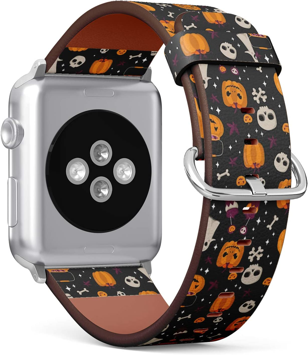 Compatible with Small Apple Watch 38mm & 40mm - (Series 5, 4, 3, 2, 1) Leather Watch Wrist Band Strap Bracelet with Stainless Steel Clasp and Adapters (Halloween Pumpkin)