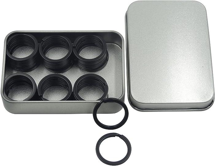 Shapenty 1 Inch/25mm Diameter Metal Flat Split Key Chains Rings for Home Car Keys Attachment (Black,40PCS/Box)