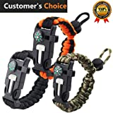 Premium Survival Bracelet-Set of 3-Outdoor Emergency Paracord Bracelet 5 in 1 With Compass,Flint Fire Starter,Emergency Scraper/Knife,Whistle,Rescue Rope-Perfect for Camping,Hiking,Trekking,Travel