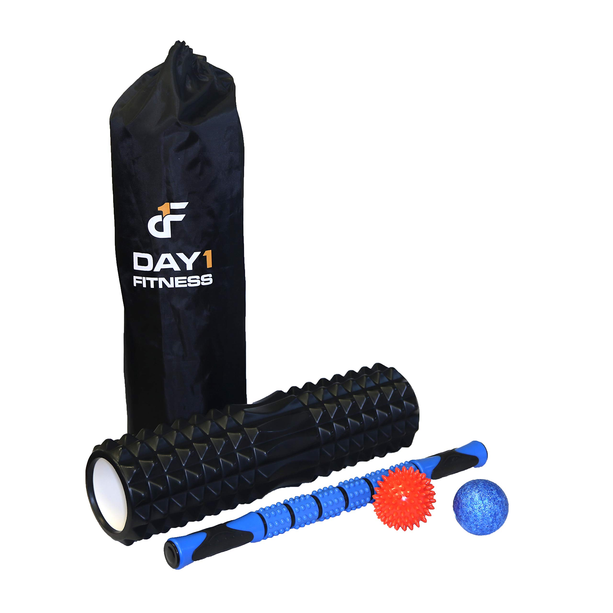 Day 1 Fitness 18'' Black Deluxe Massage Roller Kit - Ribbed Foam Roller, Deep Tissue Myofascial Knot Release Stick, Spiky Ball, High Density Ball, and Bag