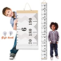 Crazy Curry Kids Growth Chart, Wood Frame Fabric Canvas Height Measurement Ruler from Baby to Adult for Child's Room Decoration 7.9 x 79in (7.9 x 79in, Flamingo)