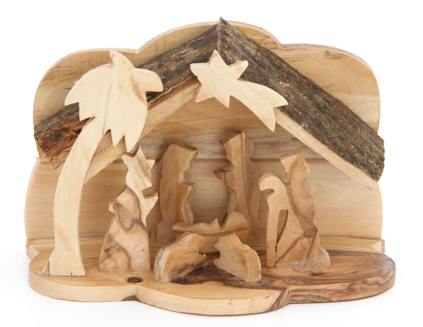 Zuluf Olive Wood Nativity Bark Roof Small NAT007 by Zuluf (Image #1)
