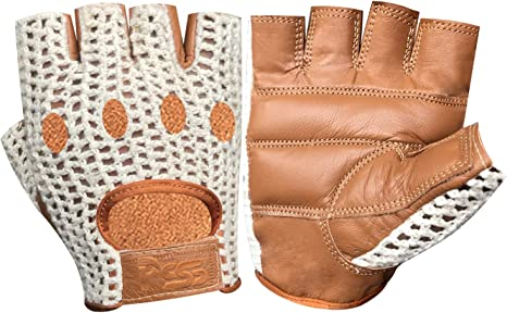 CROCHET LEATHER HALF FINGER CYCLING GLOVES BIKE PADDED BICYCLE FINGERLESS GYM