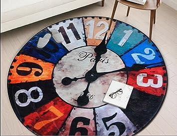 HJHY® Runder Teppich, Retro Mode Persönlichkeit Kreativ Runde Eingang  Studie Schlafzimmer Teppich Home Zimmer