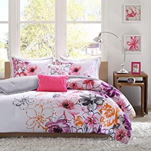 Intelligent Design Olivia Comforter Set King/Cal King Size - Purple Pink, Floral – 5 Piece Bed Sets – Ultra Soft Microfiber Teen Bedding for Girls Bedroom