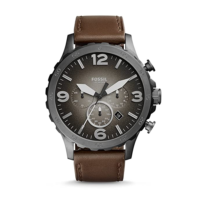 67212910d12 Amazon.com  Fossil Men s Nate Chronograph Brown Leather Watch JR1424  Fossil   Watches