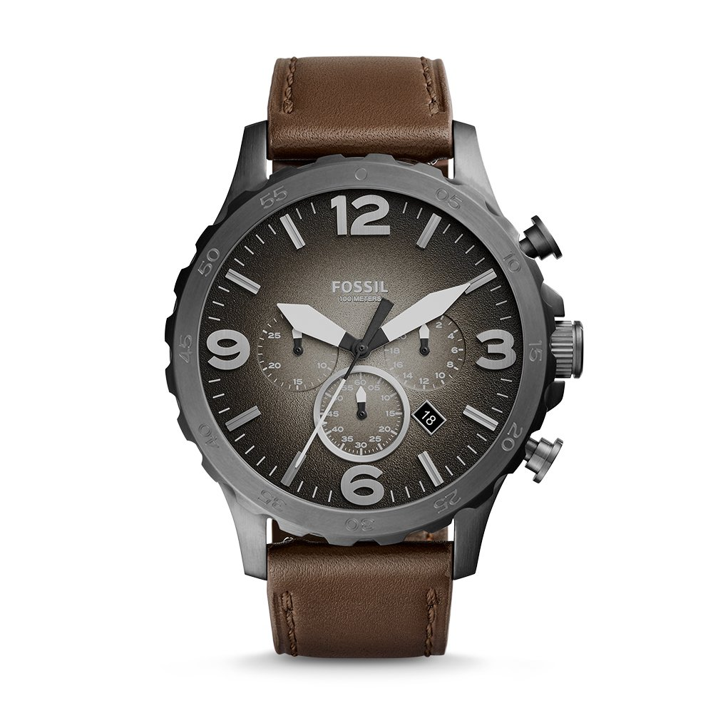 Fossil Men's JR1424 Nate Chronograph Leather Watch by Fossil