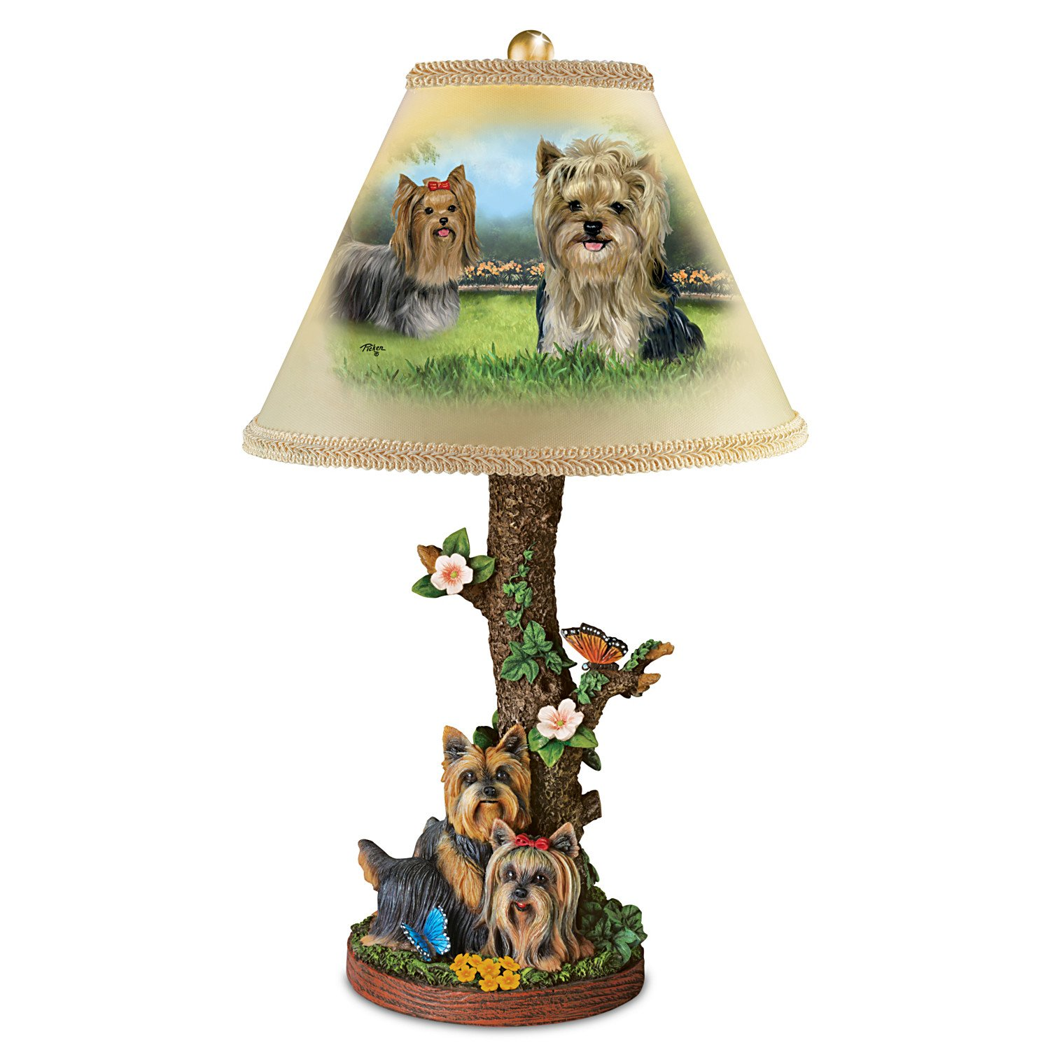 Linda Picken Darling Yorkie Accent Table Lamp With Sculpted Yorkies Base by The Bradford Exchange