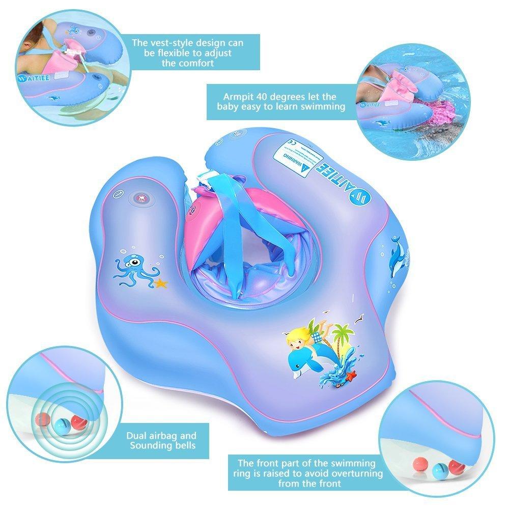 Waitiee Flotadores para bebés Inflable de Piscina Nadar Anillo para Bebe, Flotador ajustable inflable para bebé de tres meses a 6 años de edad (S, ...