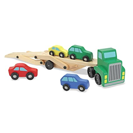 Amazon Com Melissa Doug Car Carrier Truck And Cars Wooden Toy Set