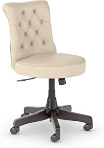 Bush Furniture Fairview Mid Back Tufted Office Chair in Antique White Leather