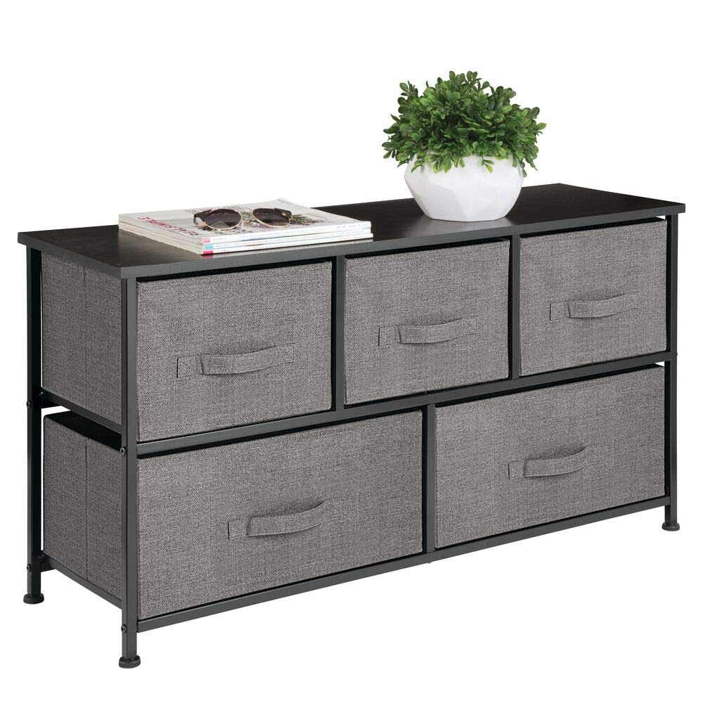 mDesign Extra Wide Dresser Storage Tower - Sturdy Steel Frame, Wood Top, Easy Pull Fabric Bins - Organizer Unit for Bedroom, Hallway, Entryway, Closet - Textured Print, 5 Drawers - Charcoal Gray/Black by mDesign
