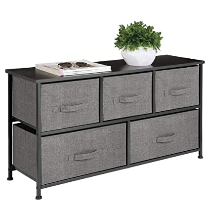 mDesign Extra Wide Dresser Storage Tower - Sturdy Steel Frame, Wood Top, Easy Pull Fabric Bins - Organizer Unit for Bedroom, Hallway, Entryway, Closet ...