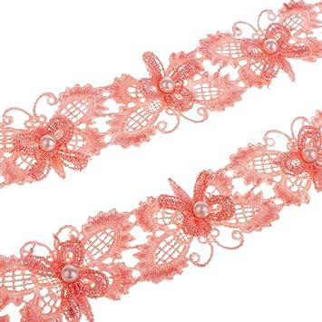 1 Yard Blumen bestickt Spitzenband Nähen Applique Lace Trims Band Handwerk