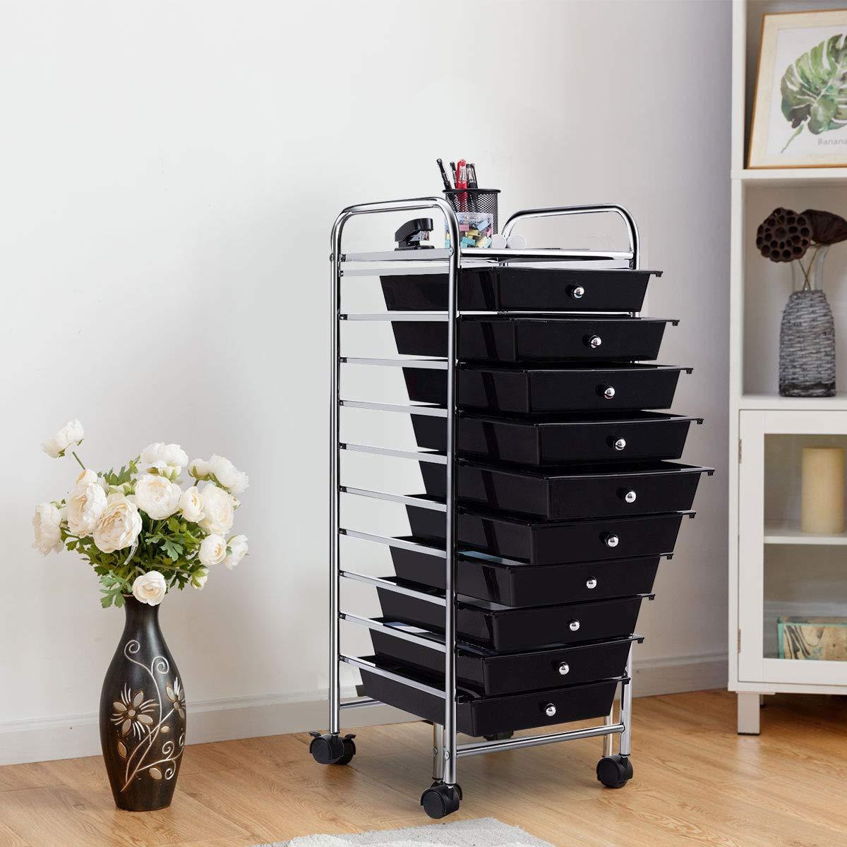 AchieveUSA 10 Drawer Rolling Storage Cart Organizer