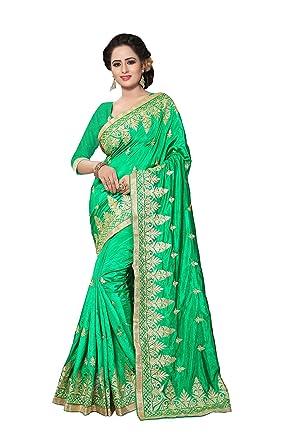 sakalaexp Indian Women Saree Party Wear Designer Wedding Ethnic In Parrot Green Zoya Art Silk
