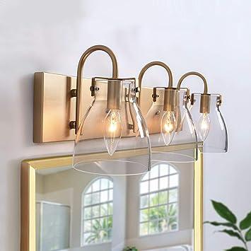 Ksana 3 Light Modern Vanity Light Fixture Brass Bathroom Lighting With Clear Glass Shades 22 L Amazon Com