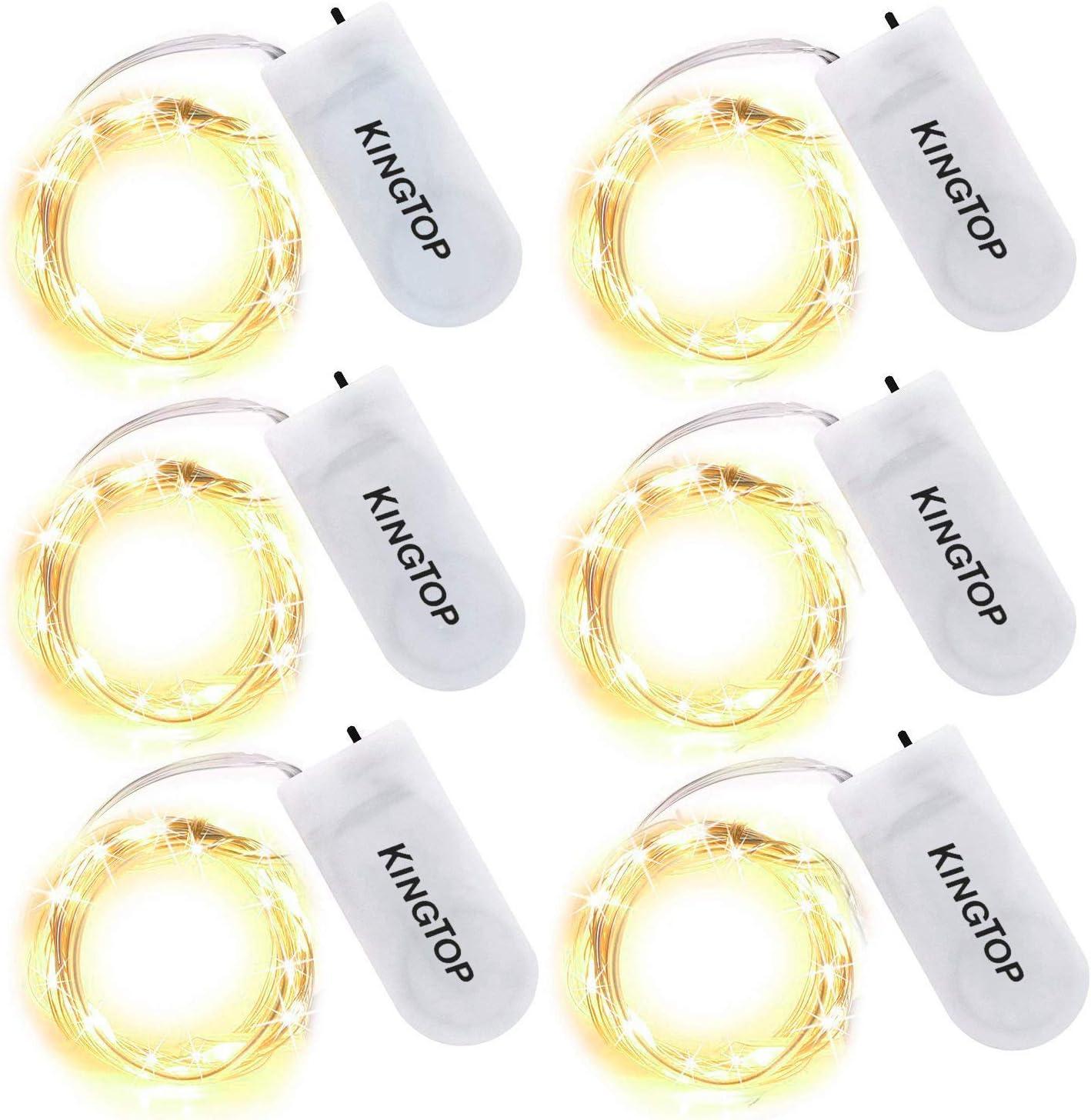 Cadena de Luces KINGTOP 6x2m 20LED Luz de Hadas Cadena Luces con Batería Alambre Plateado Impermeable para Hogar, Juego, Boda, Navidad (Blanco cálido)