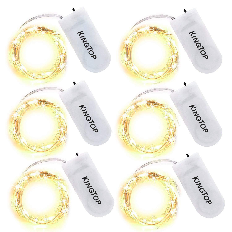 KingTop Luci Led Natale Micro 2M 20 Leds x 6 Pezzi Led Filo Di Argento Impermeabile Luci Led Natale Bianco Caldo Con Batteria Luci Stringa Per Interno e Esterno 6 Pack Led Fariy Lights