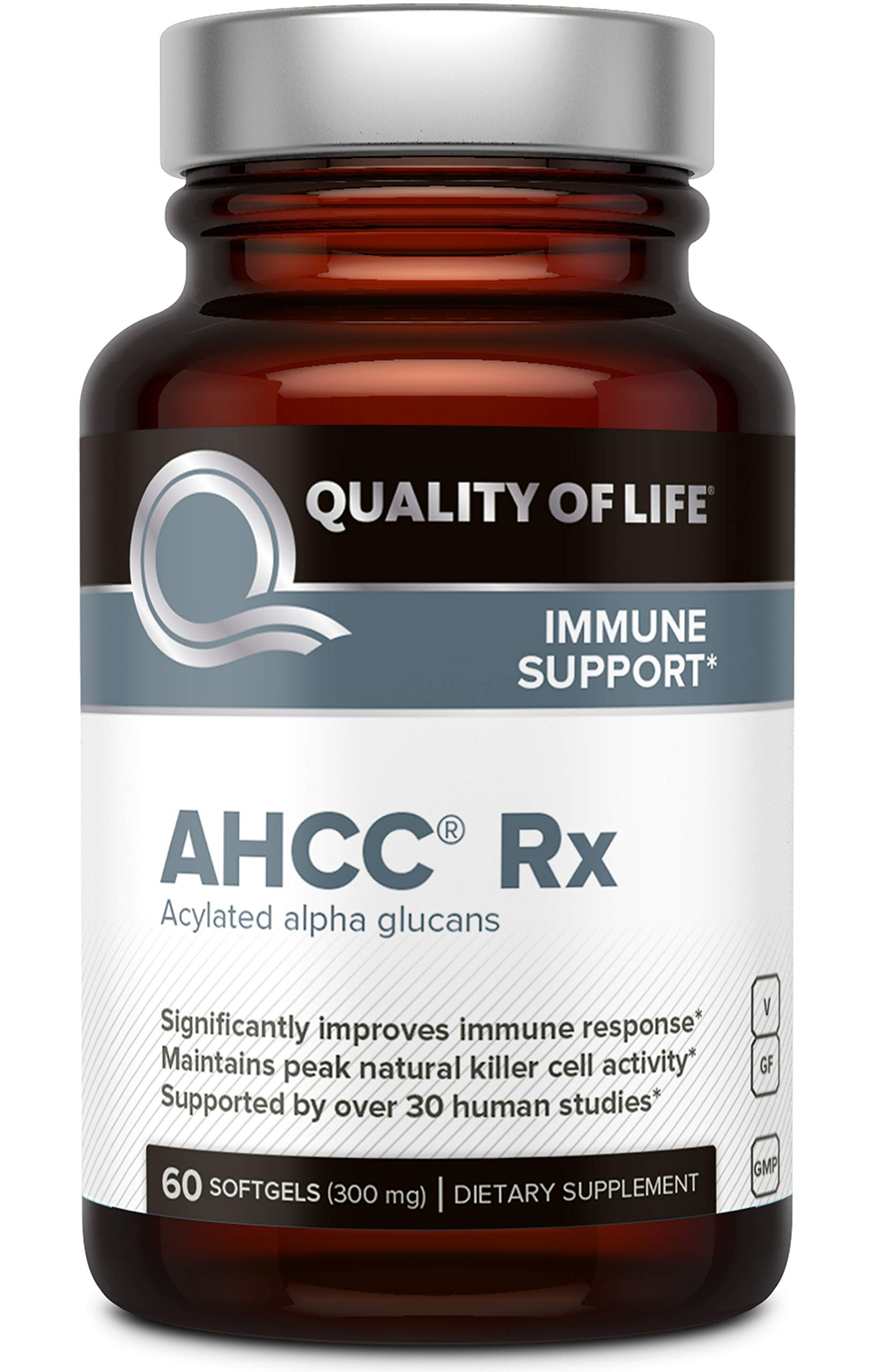 Premium AHCC Immune Support Supplement - Most Bioavaliable AHCC - Natural Mushroom Extract - Quality of Life AHCC Rx-60 Softgels
