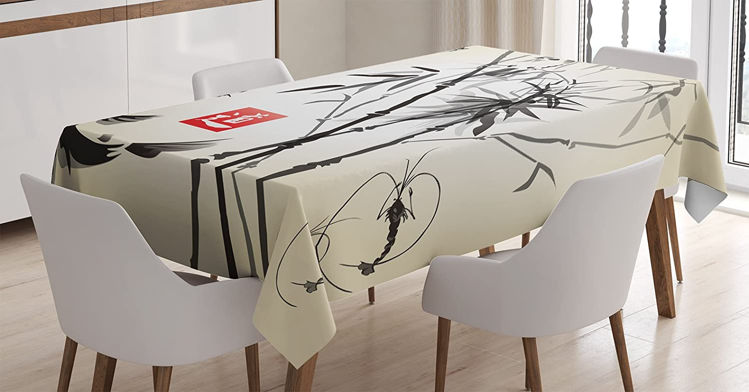 Ambesonne Japanese Tablecloth, Artistic Birds Fishes and Bamboo Leaves Abstract Painting Oriental Style, Dining Room Kitchen Rectangular Table Cover, 52 W X 70 Inches, Black Gray Ivory