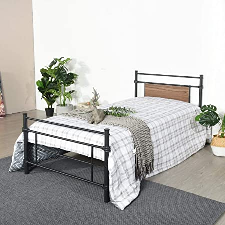 Aingoo Solid 3ft Metal Bed Single Bed Frame With Wood Headboard For