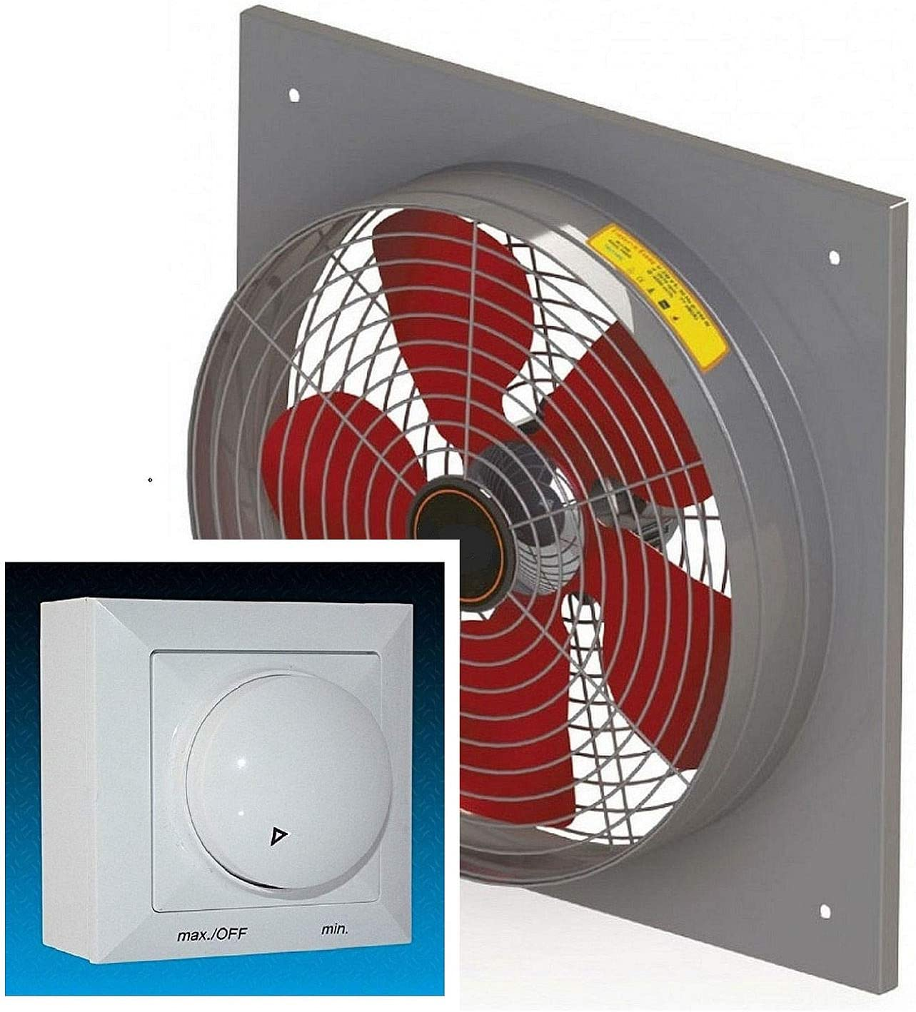 600mm Ventilador Industrial con 500 Watt Regulador de Velocidat, Ventilación Extractor Ventiladores Axial axiales Helicoidal extractores 60 cm