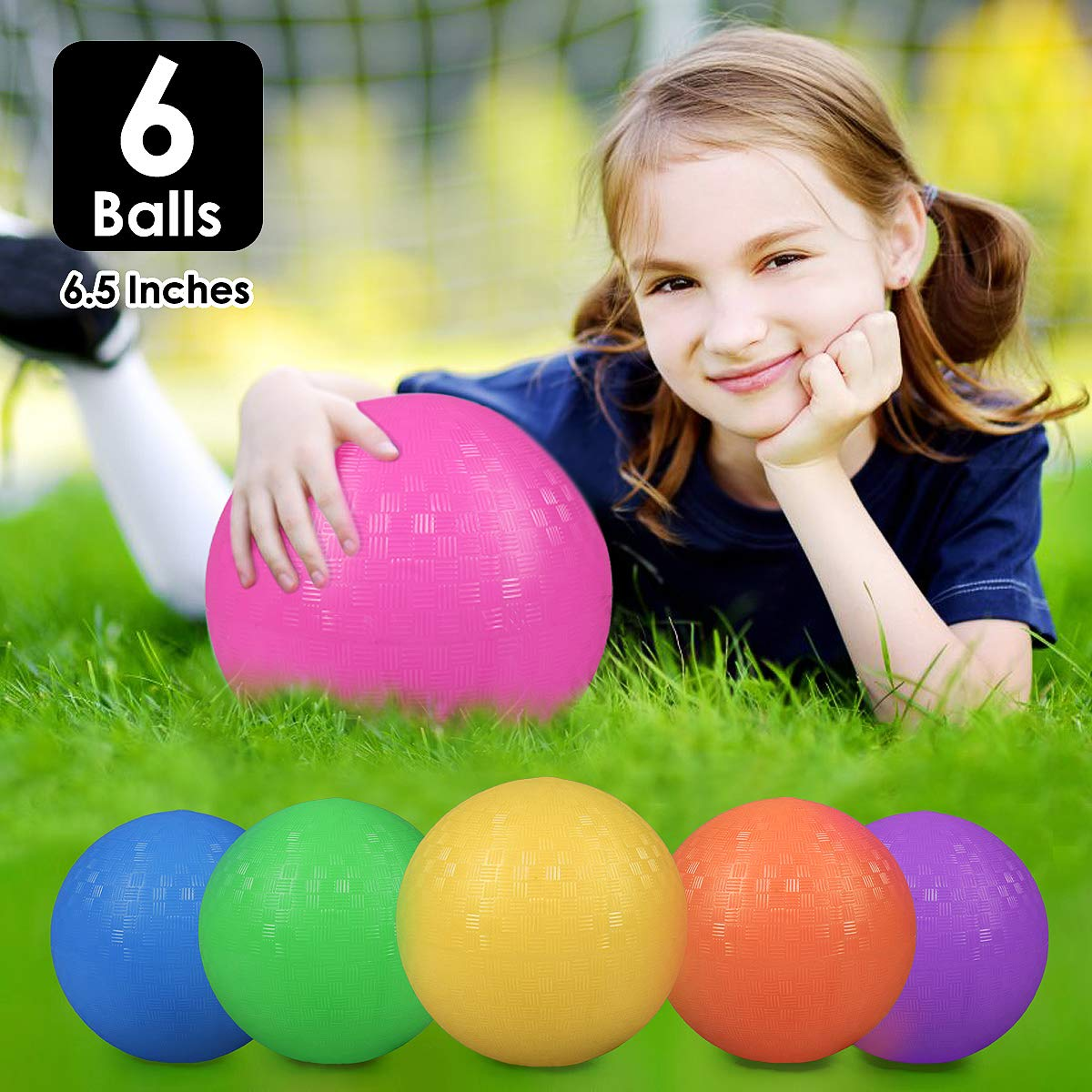 Playground Balls, 6.5'' Inflatable Dodgeball for Kids, 6 Pack - No Sting Balls and Rubber Kickballs with Free Pump - Toys Party Favors - Beach Toys - Party Pack - Schoolyard Games by E-BigSales