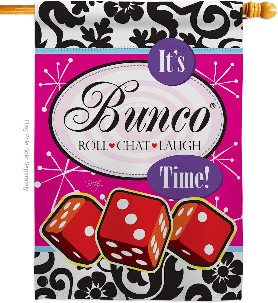 Breeze Decor Games It's Bunco Time! House Flag Interests Night Dice Poker Bingo Hobbies Leisure Activity Small Decorative Gift Yard Banner Made in USA 28 X 40