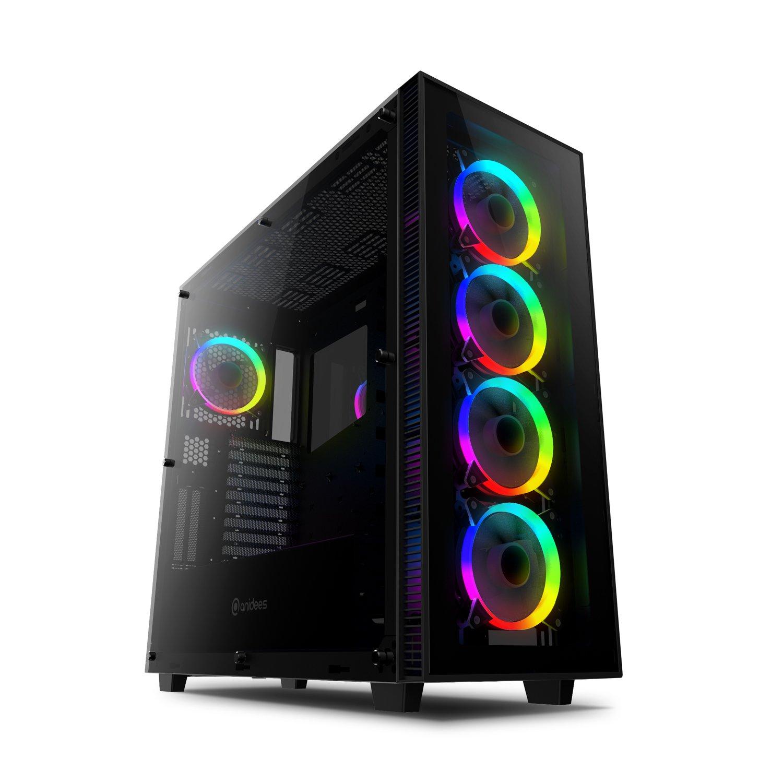 anidees AI Crystal XL RGB Full Tower in Vetro temperato HPTX, XL-ATX/E-ATX/ATX Supporto per Custodia da Gioco per PC 480/360 Radiatore Incluso 5 x 120 Ventole RGB - Schwarz AI-CL-XL-AR product image