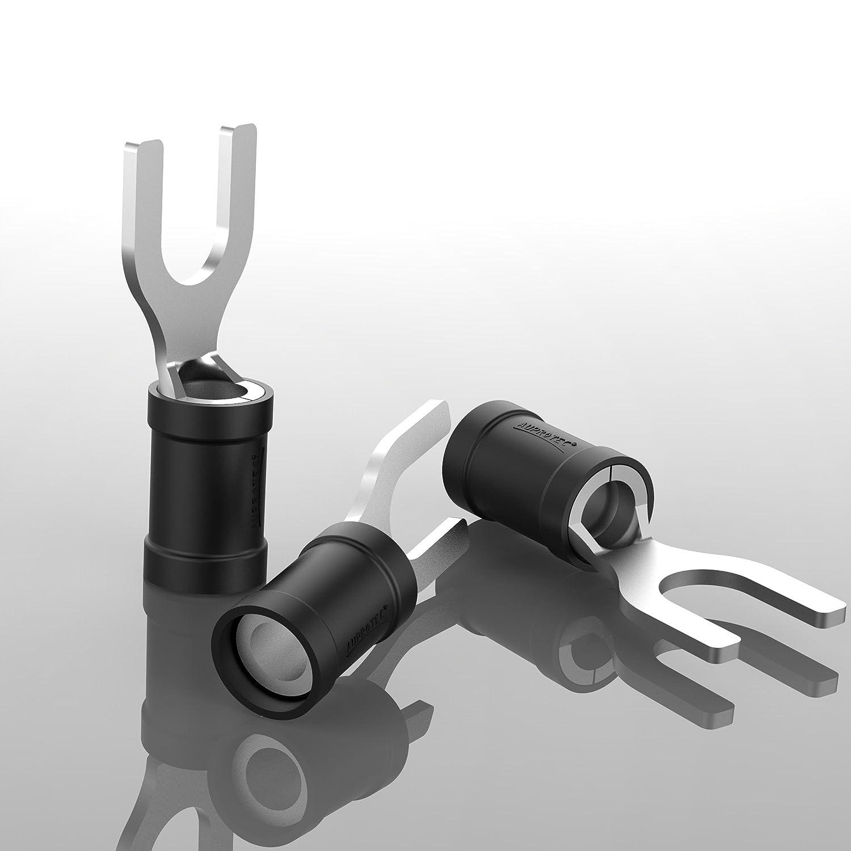 Loch-/Ø M5 Teillisoliert PVC SV Kabel-Verbinder aus Kupfer verzinnt AUPROTEC 50x Gabelkabelschuhe 2,5-4,0 mm/² schwarz