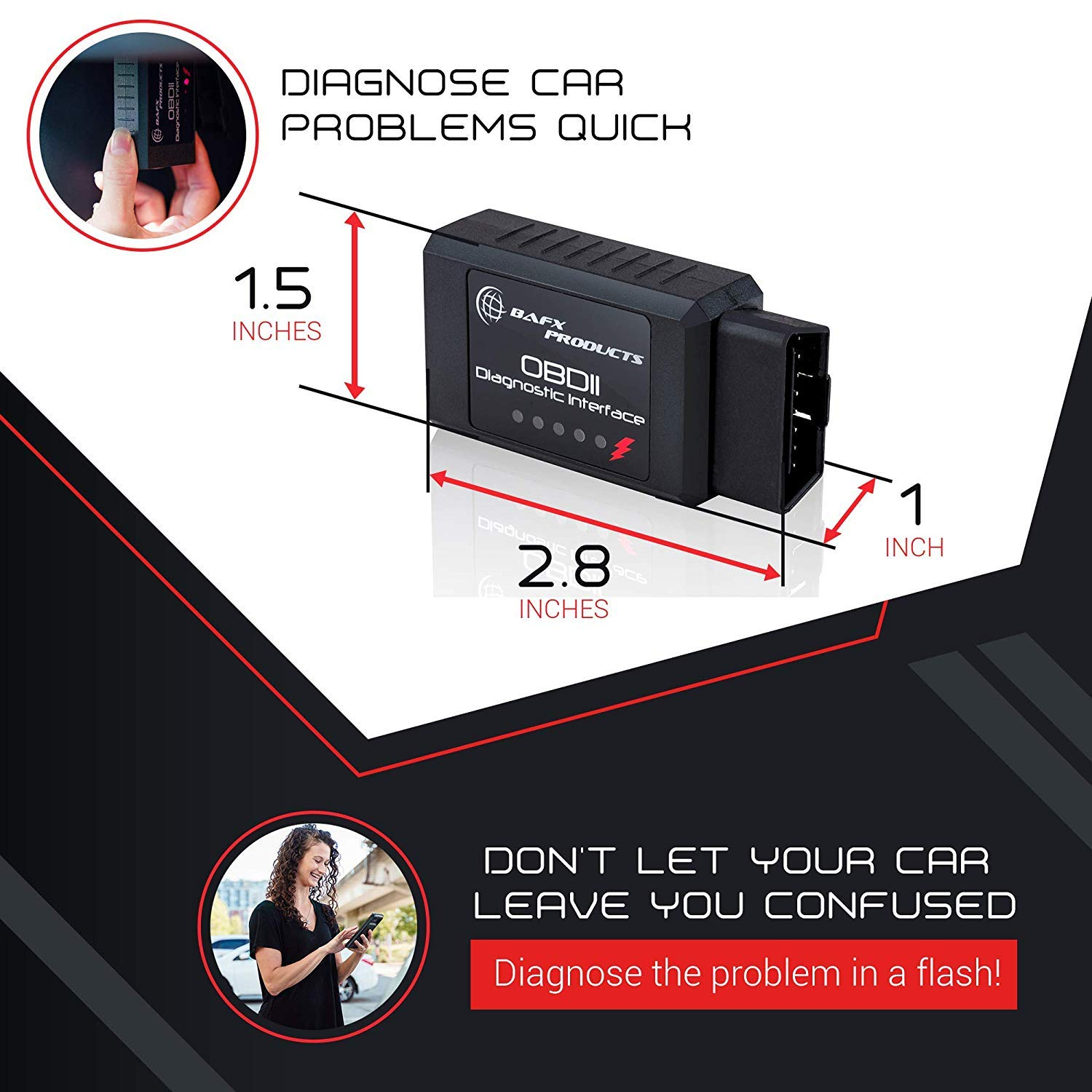 BAFX Products - Wireless Bluetooth OBD2 / OBDII Diagnostic Car Scanner &  Reader Tool for Android Devices - Read / Clear Your Check Engine Light & So