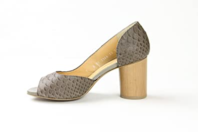 12ef281ab Image Unavailable. Image not available for. Colour: Robert Clergerie Womens  Olmi Open Toe Wooden Heel Pumps