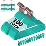 VECELO Premium Velvet Suit Hangers Heavy Duty (100 Pack) - Non Slip & Space-Saving Clothes Hangers with 12 Finger Clips…