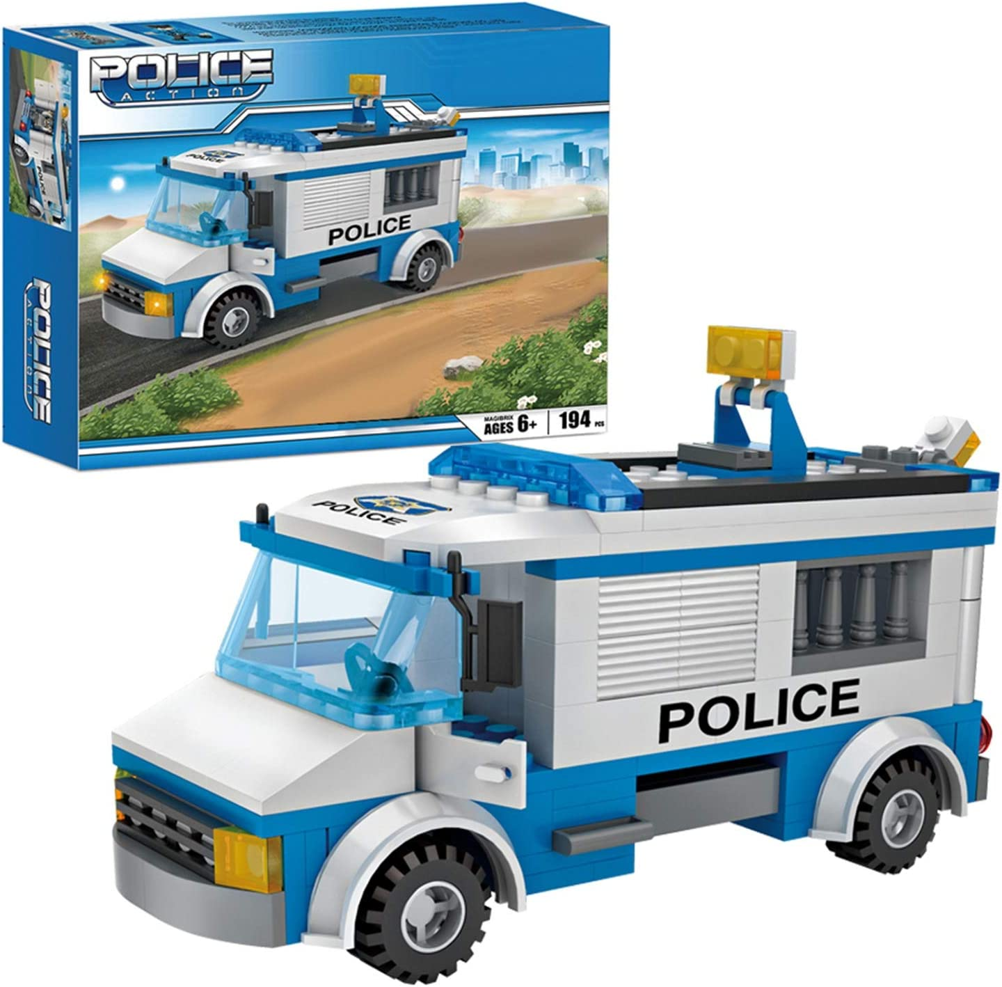 City Police Car Building Sets 194 Pieces Police Patrol Car Toys Cop Car Prisoner Transporter Building Kit for Boys and Girls Age 6 and up