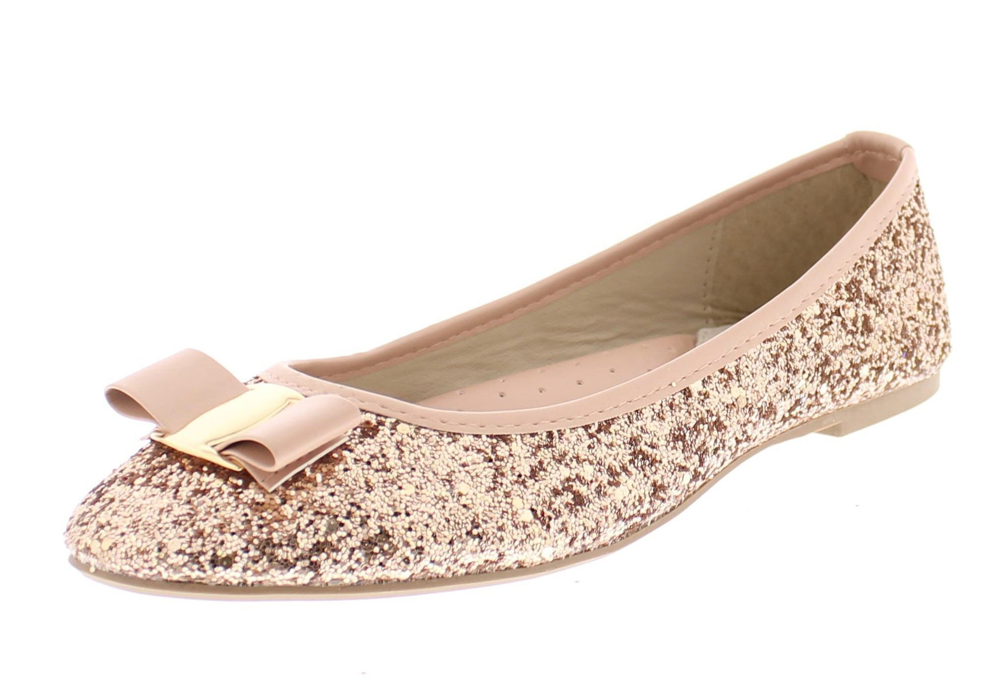 Gold Toe Women's Tempest Metallic Sequin Sparkle Ballet Flat Slipon Dress Pump Bow Ballerina Skimmer Shoe Pink 8 US