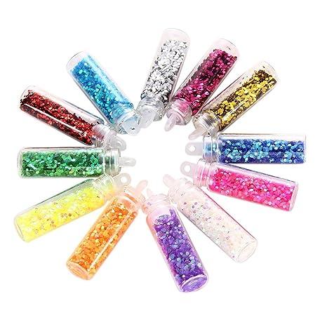 Buy Nail Art X 12 Hexagon Glitter Glass Mini Bottles Manicure