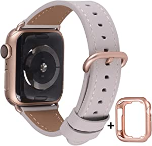 JSGJMY Compatible with Apple Watch Band 38mm 40mm 42mm 44mm Women Men Genuine Leather Replacement Strap for iWatch Series SE 6 5 4 3 2 1 (Stone with Series 5/4/3 Rose Gold Clasp, 38mm/40mm S/M)