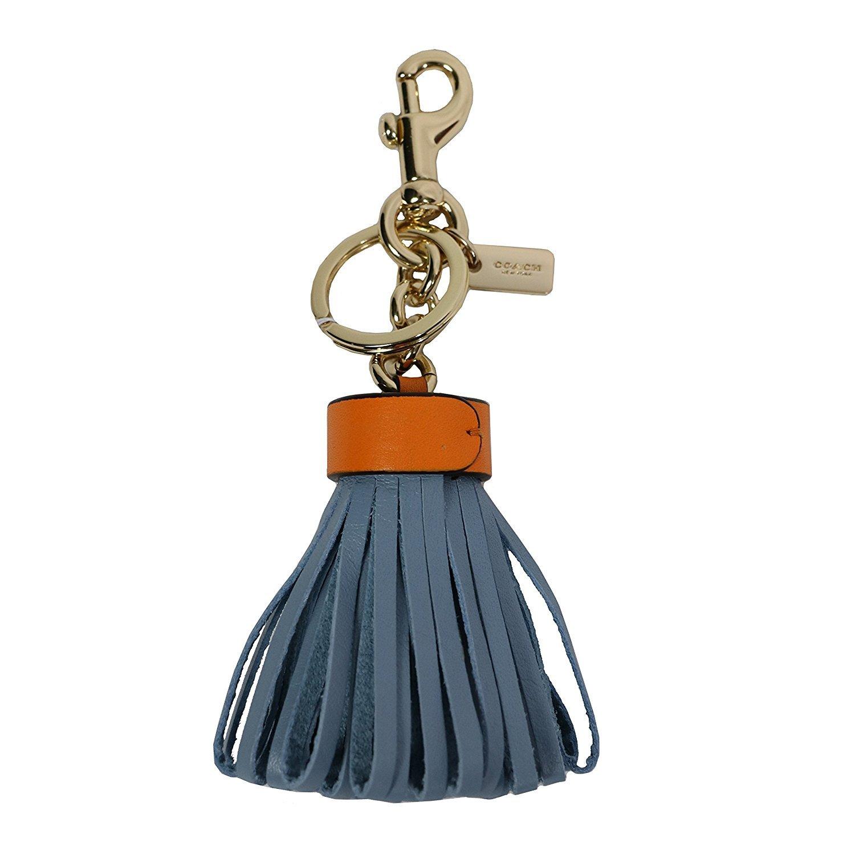Coach Tassel Leather Keyfob Keychain Blue Orange
