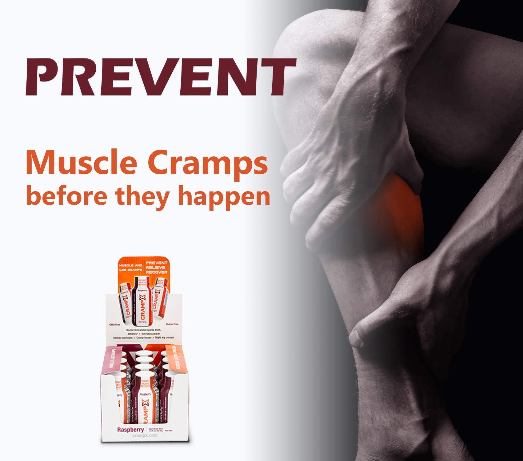 CrampX Muscle Cramp Relief Drink | Proven to Prevent and Treat Muscle Cramps in Seconds | Gluten Free Cramp Remedy for Hand Cramps, Leg Cramps, Foot Cramps | Raspberry 2 oz - Pack of 12 by CrampX (Image #3)